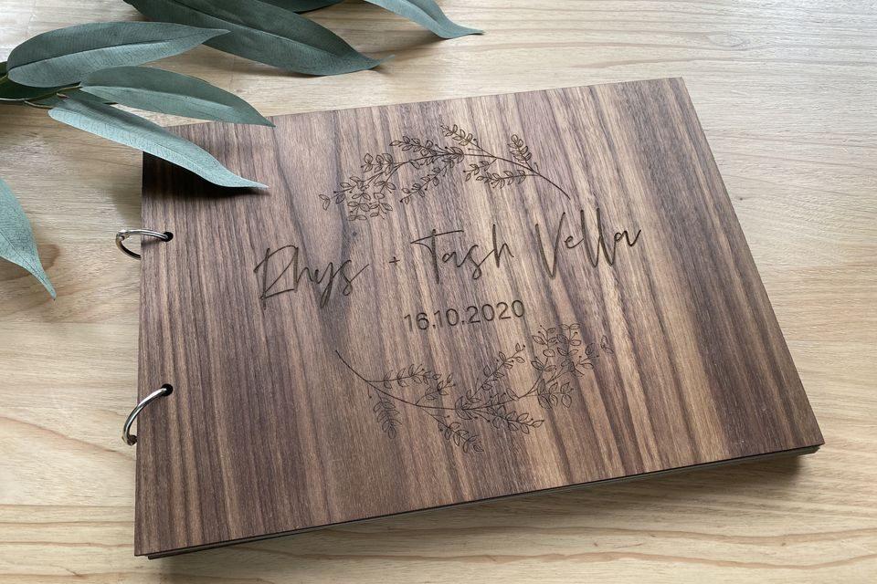 wedding guest book wooden